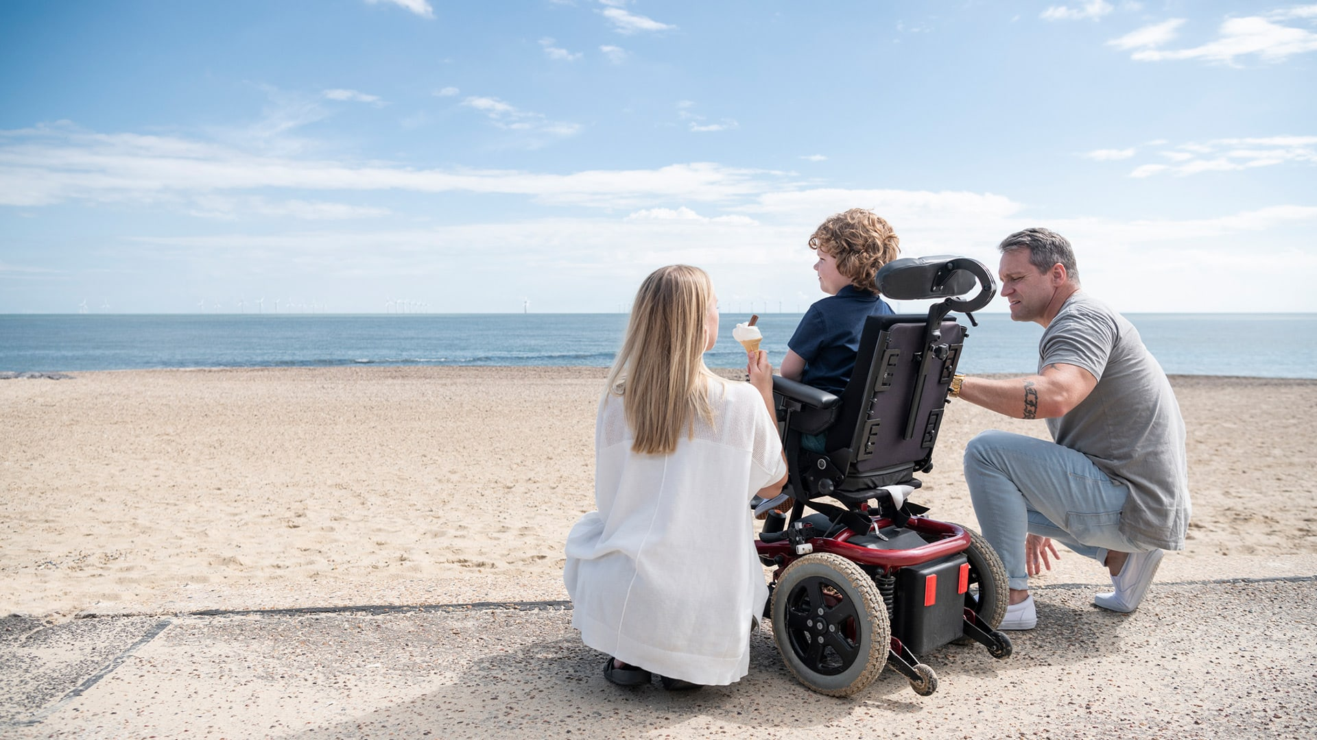 A couple with a disabled kid.